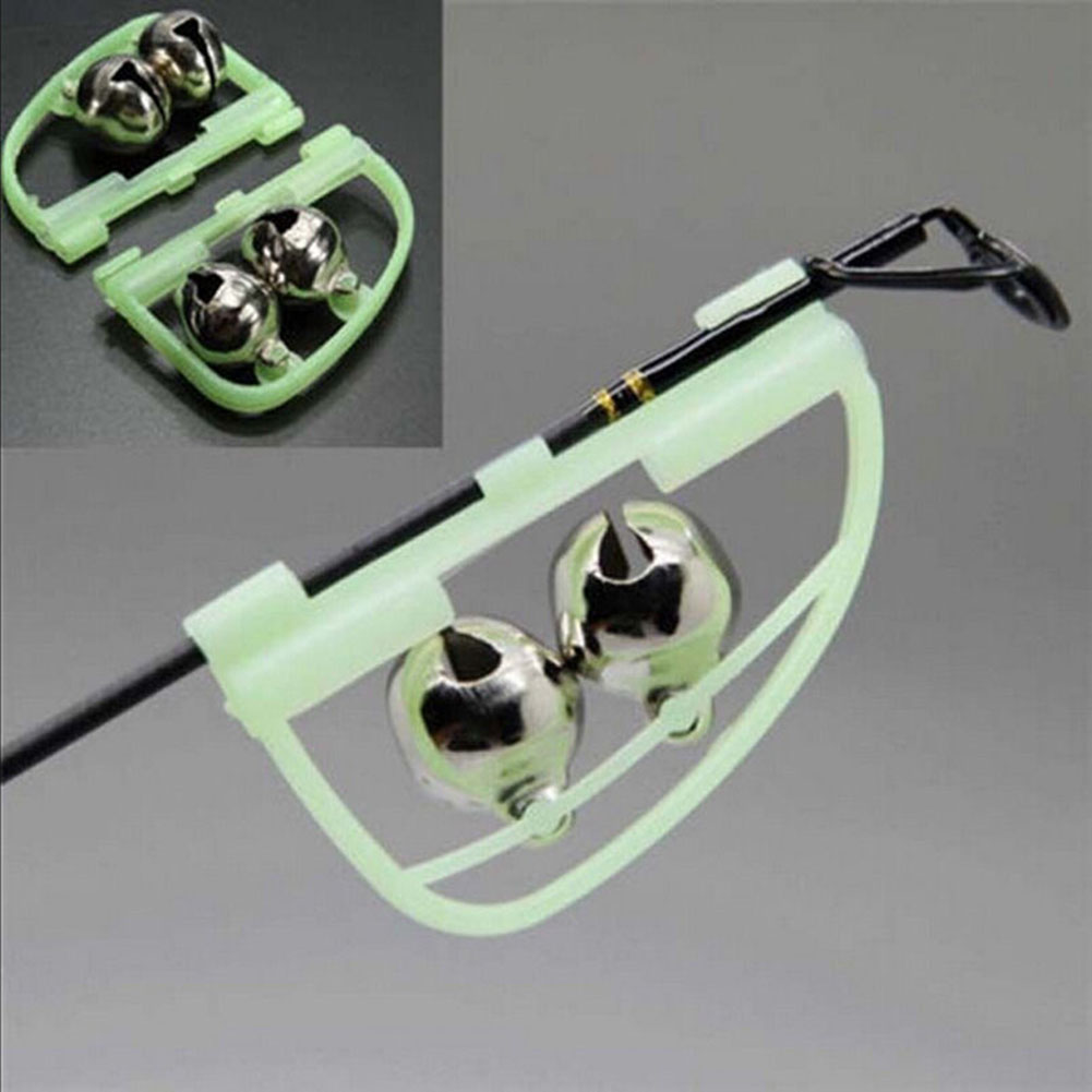 Fish Bite Alarm Double Bell Luminous Clamp - ring Fishing Rod Bow Sea Pole Accessory