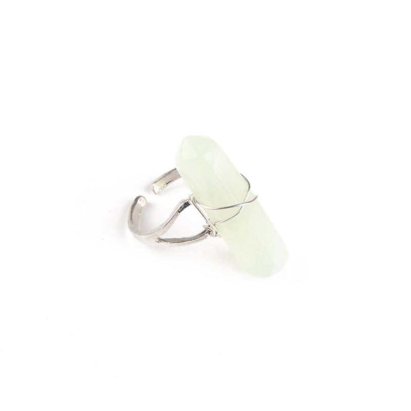 1Pc Boho Vintage Sliver Plated Hexagonal Crystal Natural Stone Gem Ring Jewelry