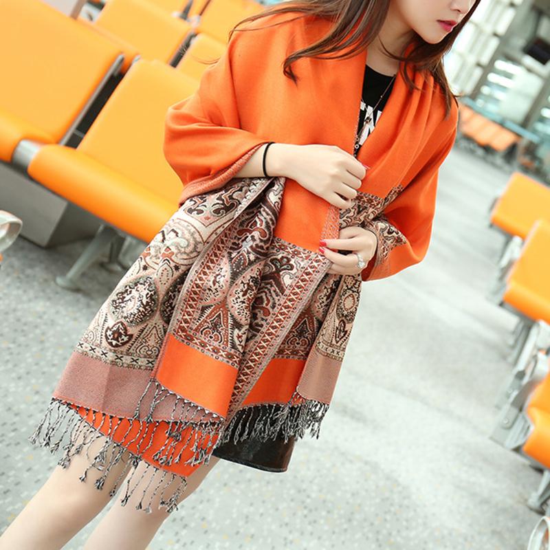 Autumn Women Soft Shawl Wrap Long Chinese Style Tassel Scarf Lady Knited Winter Vintage Wool