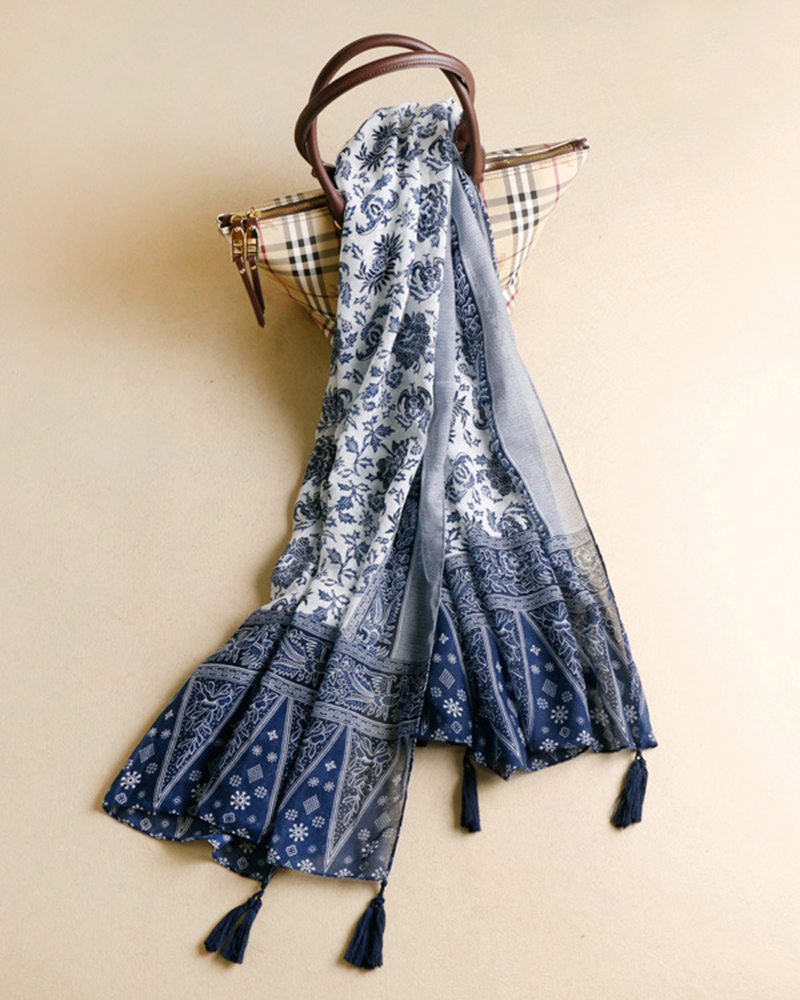 Autumn Women Soft Fashion Shawl Wrap Long Chinese Style Tassel Scarf
