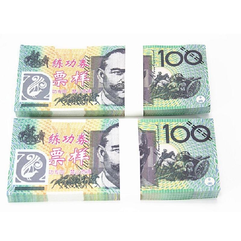 100pcs/Lot 100 AUD 1:1 Paper Money Australian Notes Training Banknotes