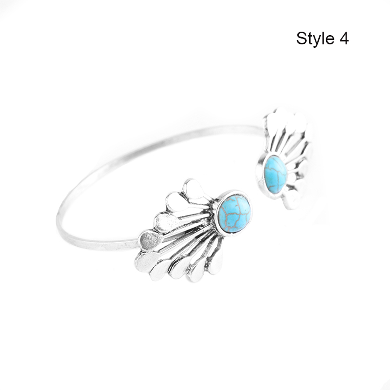 4Pcs Set Women Boho Gypsy Silver Plate Bracelets Turquoise Gem Stone Cuff Bangle Jewelry