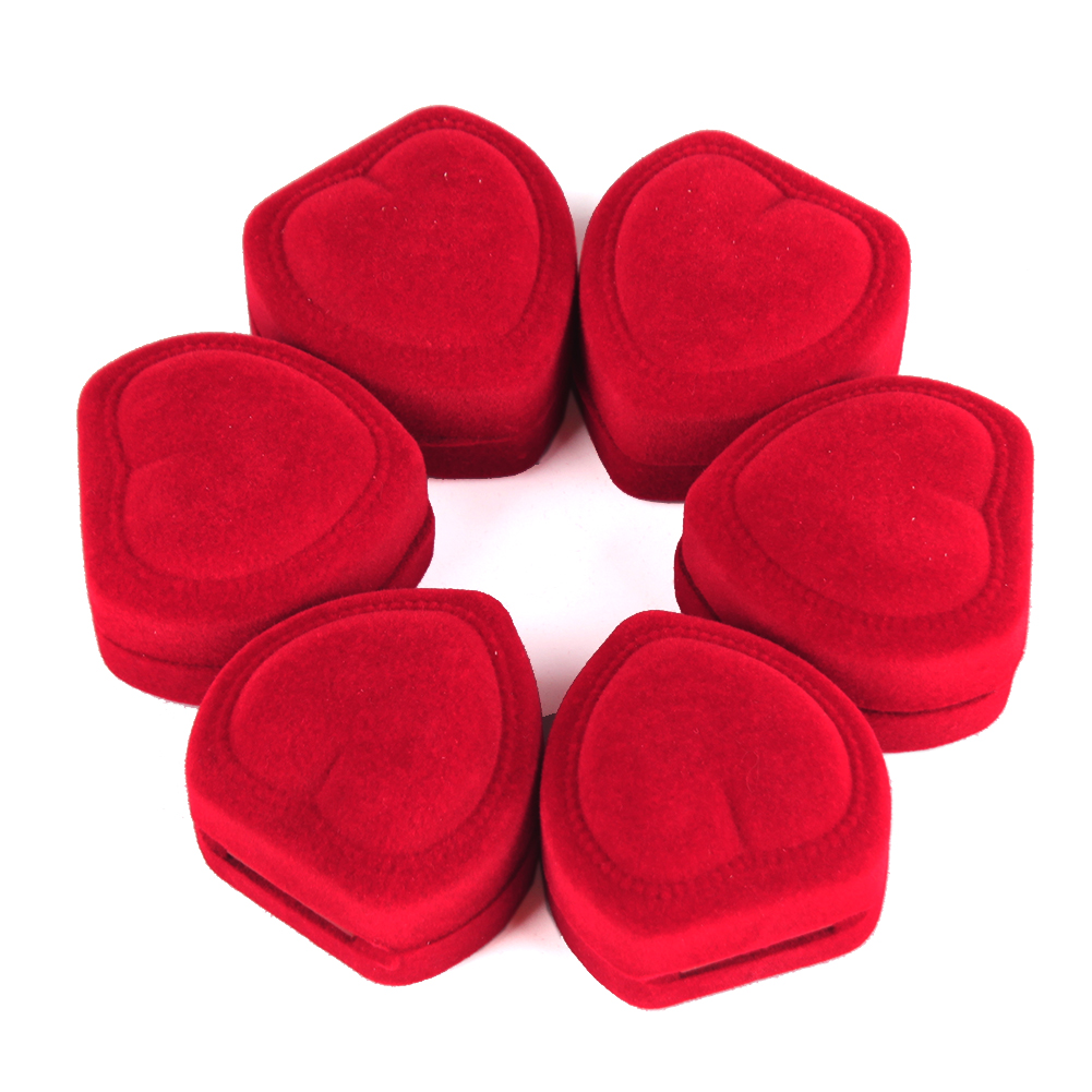 Mini Cute Red Heart Shaped Velvet Ring Box Jewelry Display Organizer Holder Storage Case