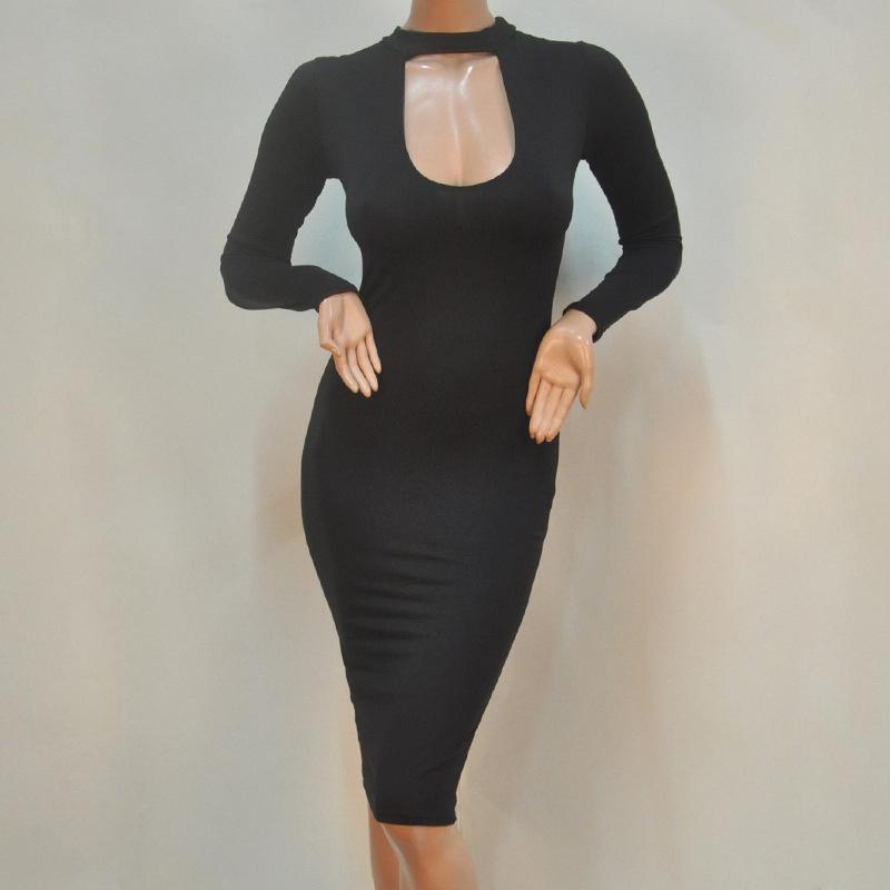 Women Sexy Slim Bandage Club Long Sleeve Evening Party Cocktail Dress Black/White