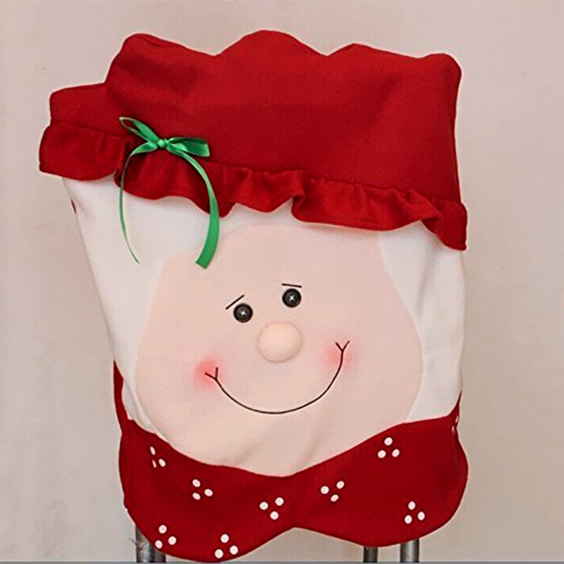 2Pcs Set Santa Claus Snowman Christmas Dinner Banquet Chair Back Cover Xmas Party Home Decor