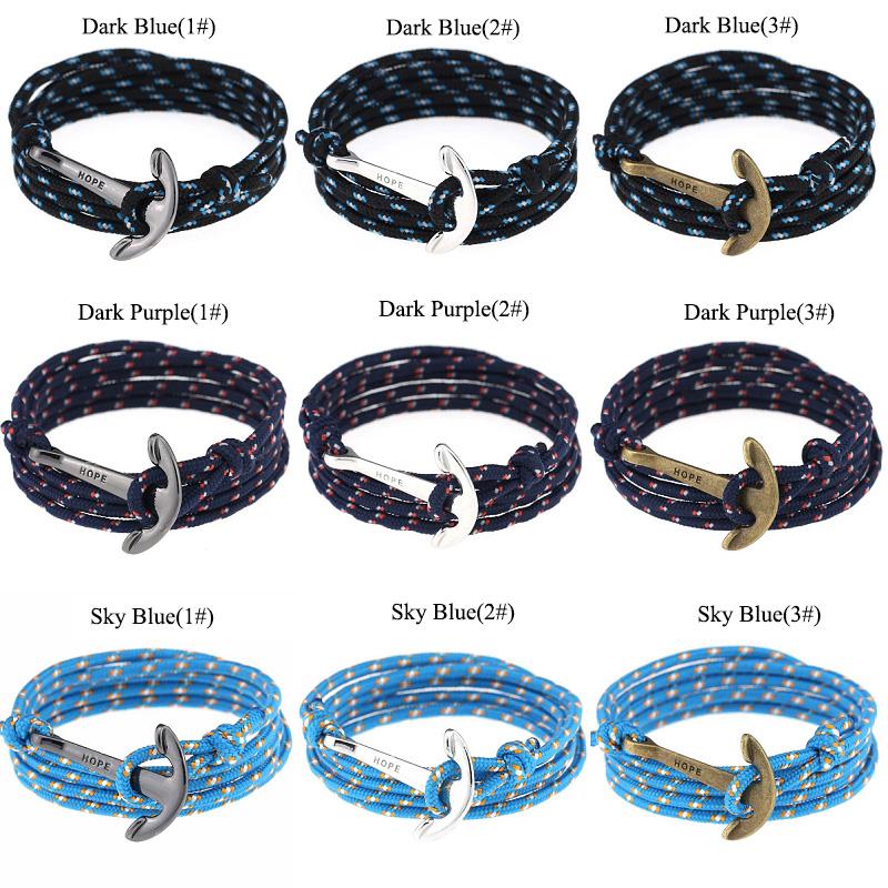 New Women Men Multilayer Leather Handmade Wristband Rope Anchor Bangle Bracelet