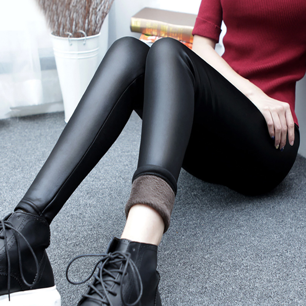 Warm Leggings Thickening Black Leather Leggings High Waist Pants Leggings Casual Warm Solid Faux Leather Leggins
