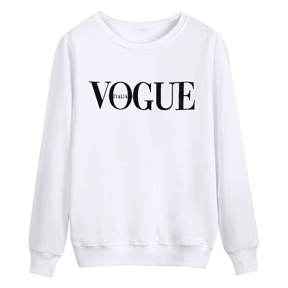 Fashion Vogue Printed Crewneck Pullover Sweatshirt For Women Long Sleeve Casual Loose Tops Hoodies Tumblr Clothes