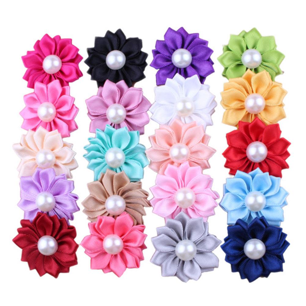Fashion Baby Girls Big Pearl Circular Wavy Flower For Headband Corsage Ribbon Bow No Clip Headwear or Clothing Flower or Foot flower