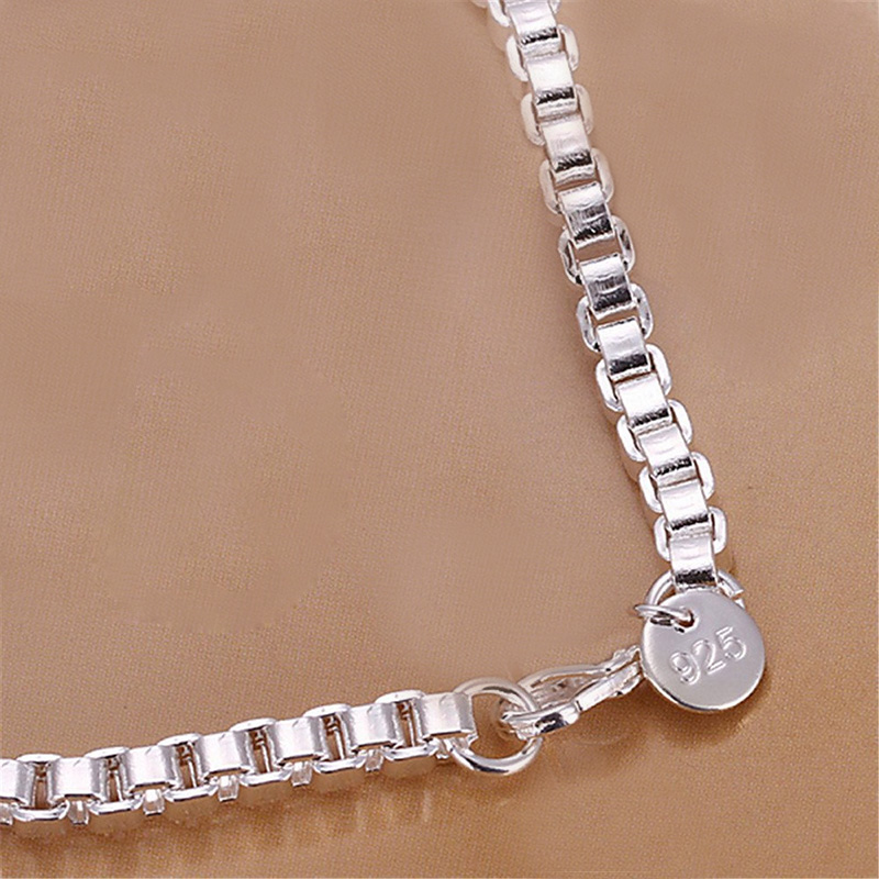 Fashion 925 Silver Plated Box Link Chain Bracelet Bangle Wrist Hand Jewelry