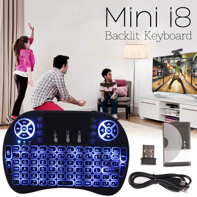 Mini i8 Gaming Keyboard Wireless Backlit + H96 PRO+ 3G+32G Android 6.0 BT 4.1 HDMI 2.0 Marshmallow TV Box