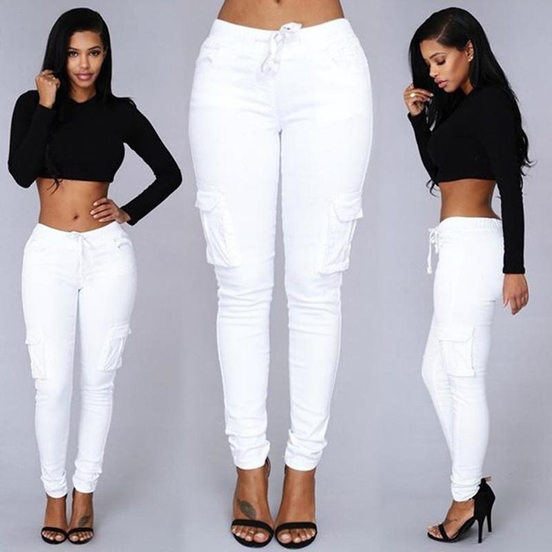 New Fashion Women Pocket Drawstring Waist Slim Pencil Jeans Pants Trousers