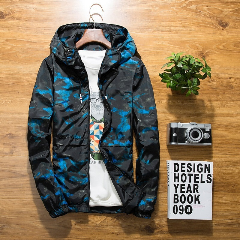 Jacket new Spring Autumn Mens Casual floral Camouflage Hoodie Jacket Men Waterproof Clothes Mens Windbreaker Coat Male Outwear