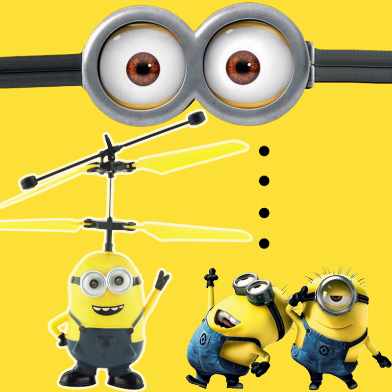 Helicopter Flying Induction Despicable Me Minion Quadcopter Drone Small Yellow People Light Aircraft Kids Toy