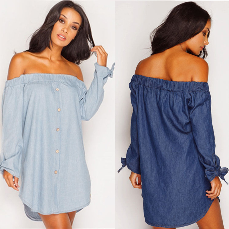 Women Sexy Off Shoulder Bowknot Evening Party Casual Holiday Dress