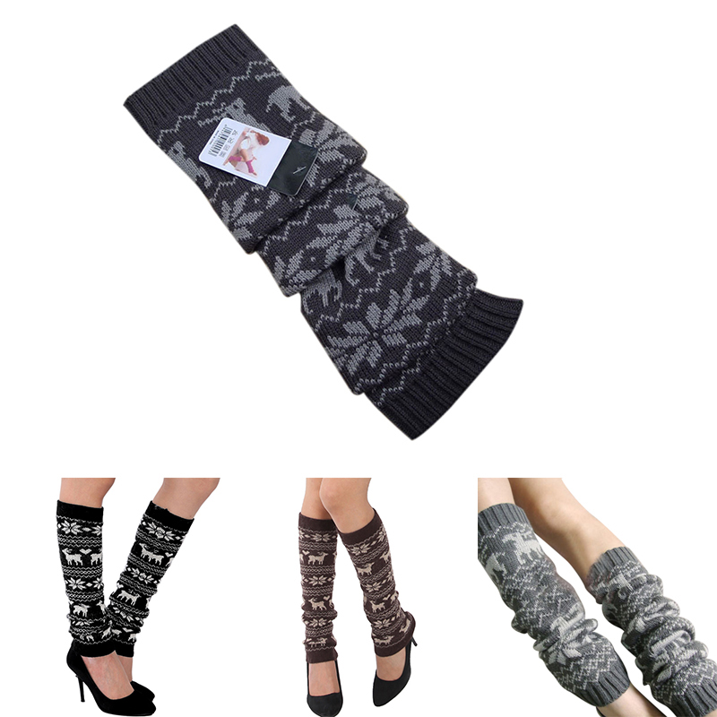 Merry Christmas Women Cute Deer Design Leg Warmer Casual Knit Wool Socks Warm Knitted Winter Ankle Xmas Gift