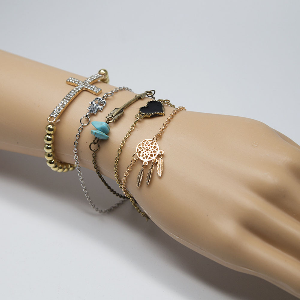 5 Pcs/Set Gold Plated Cross Heart Stones Turquoise Arrows Dreamcatcher Bracelet Anklet Set Jewelry