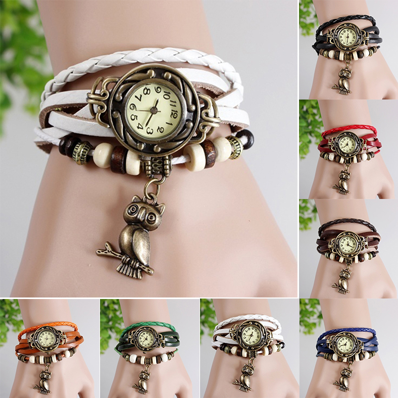 Hot Fashion Woman Multi-color Leather Weave Wrap Wrist OWL Watch Charm Bracelet
