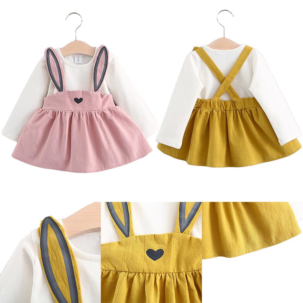 Baby Girls Fashion Clothes Bow tie Mini A-Line Baby Rabbit Princess Dress Cotton Children Clothing