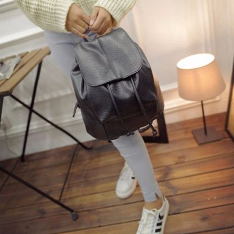 Fashion Women Leather Backpack Rucksack Travel School Bag PU Black Satchel