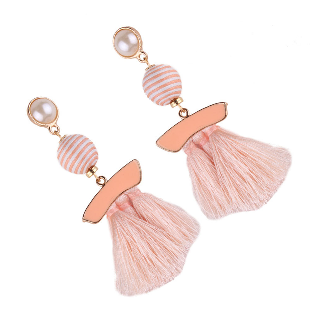 1 Pair Vintage Pearl Ball Pompom Long Tassel Dangle Earrings Boho Multi-colored Women's Fashion Ear Jewelry