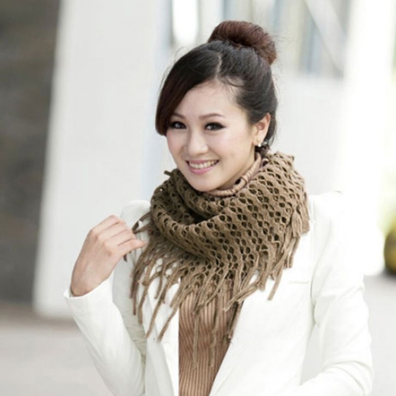 Women Cool Winter Warm 2 Circles Tassels Knit Cowl Neck Long Scarf Shawl Candy
