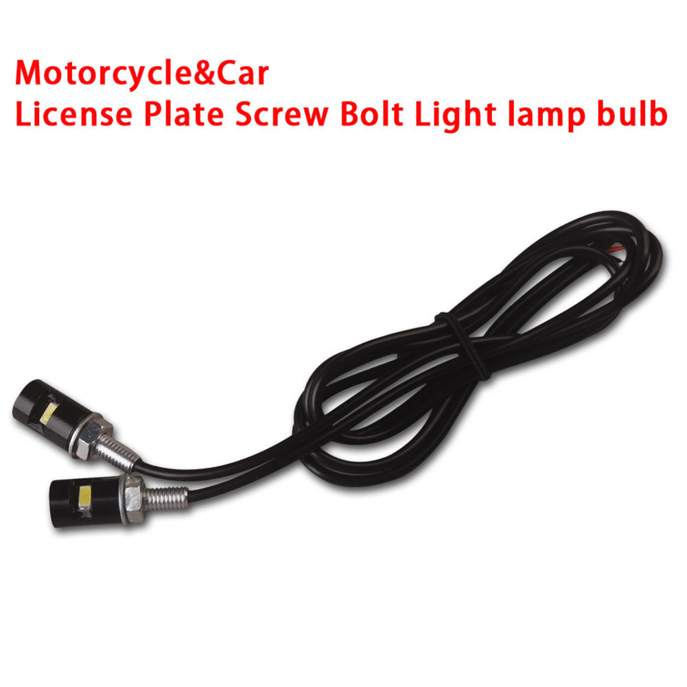 2pcs White Motorcycle Screwt SMD LED Bolt Light Auto Car Universal License Plate Lamp