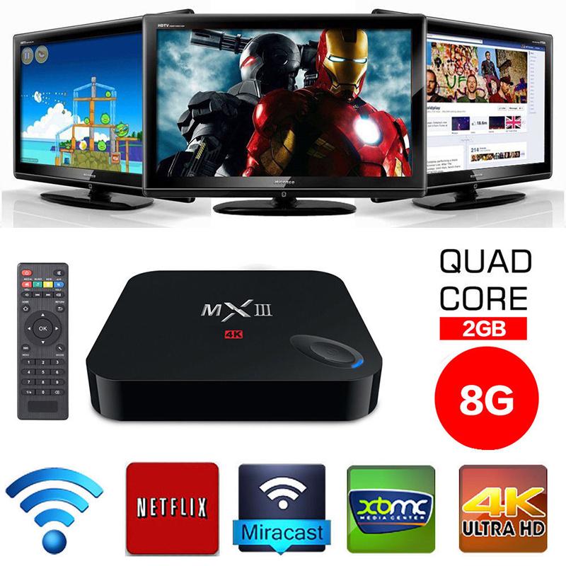 MX III Android 4.4 Quad Core Media Player TV BOX DDR3 2GB ROM 8GB HDMI