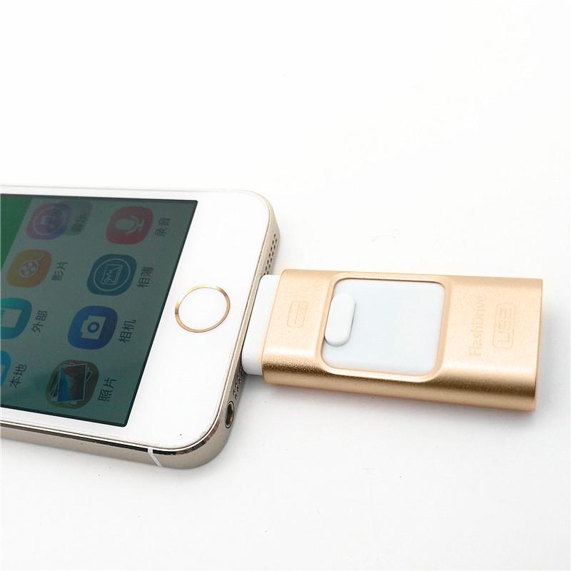 3 in 1 Metal OTG USB i-Flash Drive 8GB Memory Stick for iphone ipad U disk