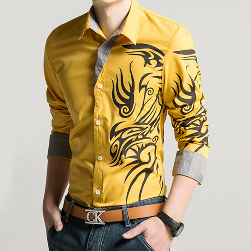 New Hot Men Fashion Silm Long Sleeve European Style Tattoo Dragon Printed Shirt