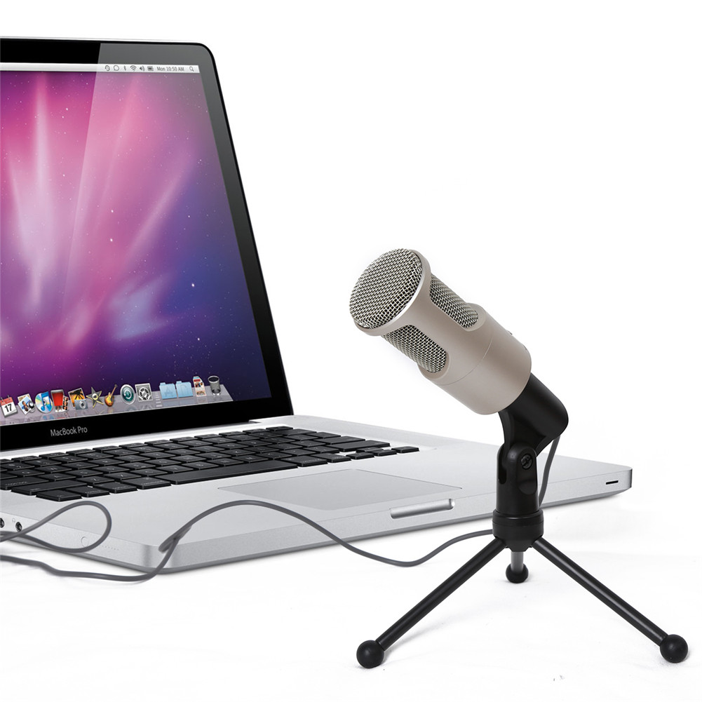 Professional Condenser Audio Microphone 3.5mm Mic Sound Recording w/Shock Mount