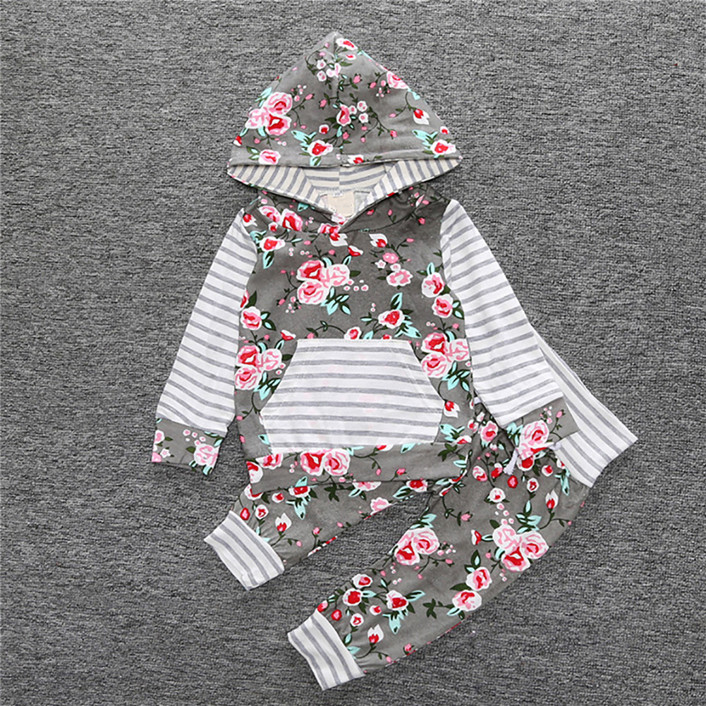 Baby girl flower print hoodies with pocket top+striped long pants