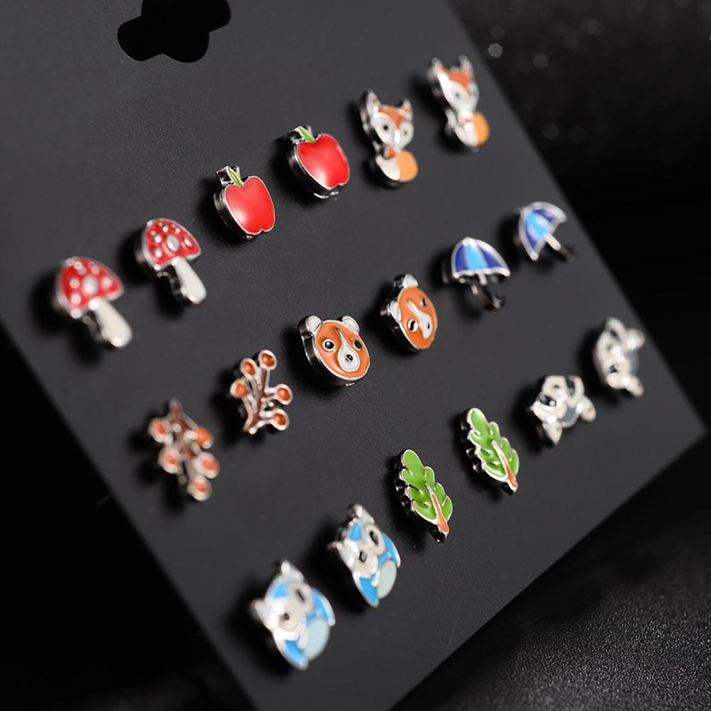 9 Pairs Cute Kids Animal Fruit Earrings Women's Small Butterfly Ladybug Frog Fox Bear Owl Ear Studs Jewelry Gift