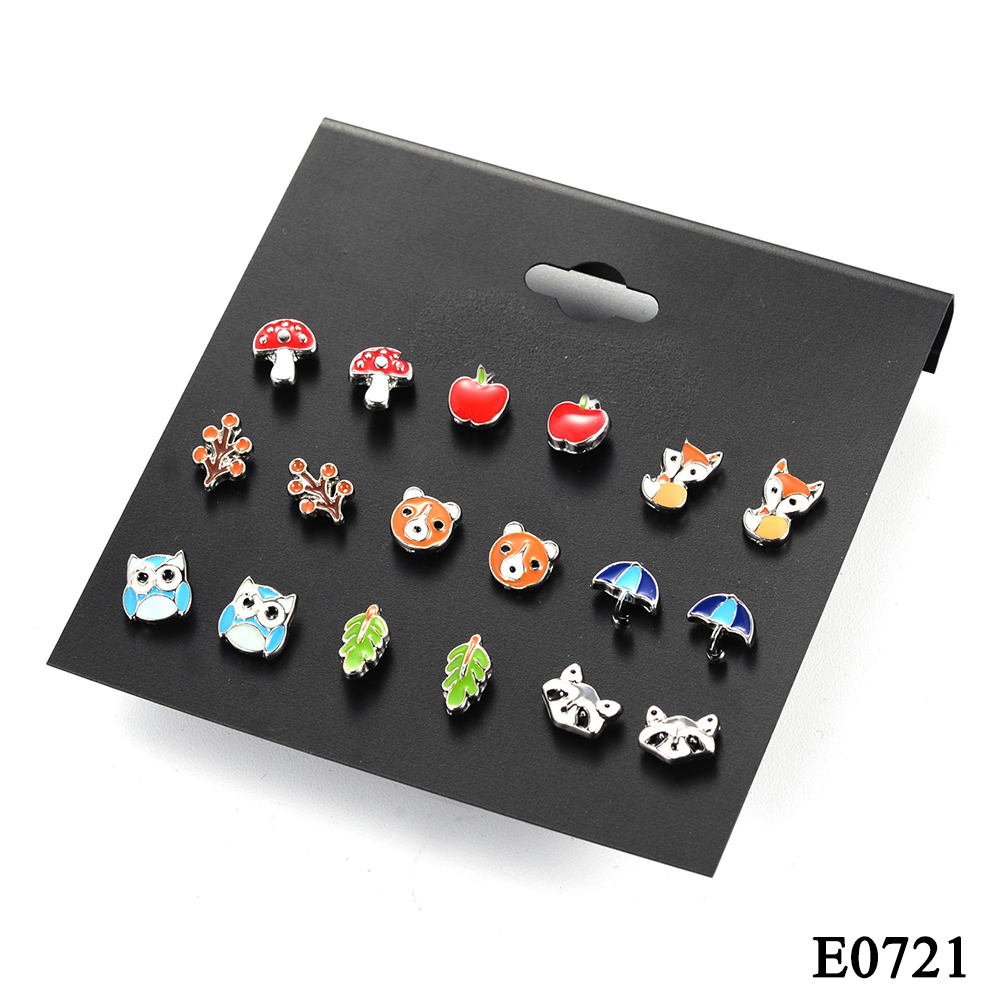 9 Pairs Cute Kids Animal Fruit Earrings Women's Small Butterfly Ladybug Frog Fox Bear Owl Ear Studs Jewelry Gift