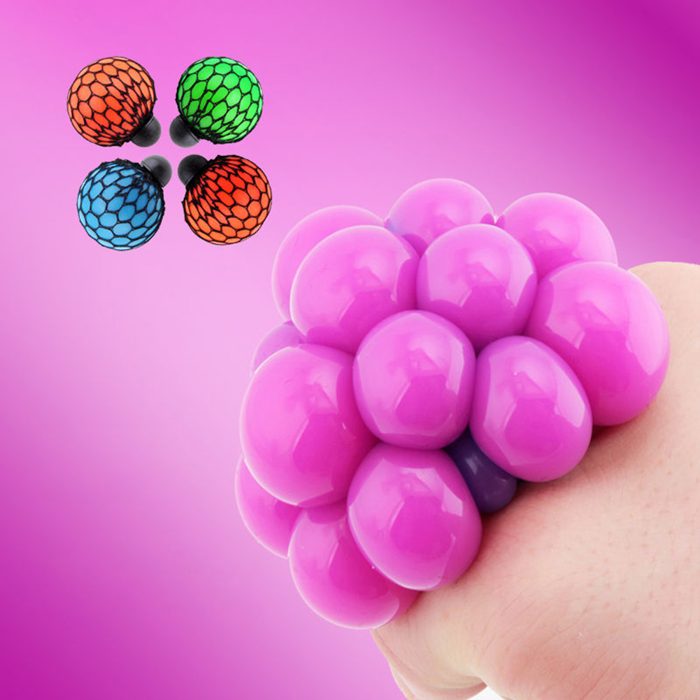 5CM Anti Stress Mesh Ball Face Reliever Grape Mood Squeeze Relief Toy