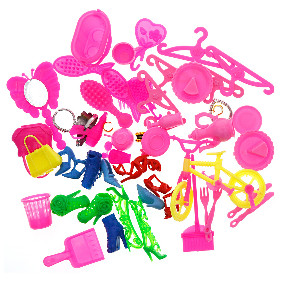 55 PCS Complete Doll Accessories Kit High Heels Rings Bags Bike Cellphone Clothing Accessories for Barbie Toys Girls Gift