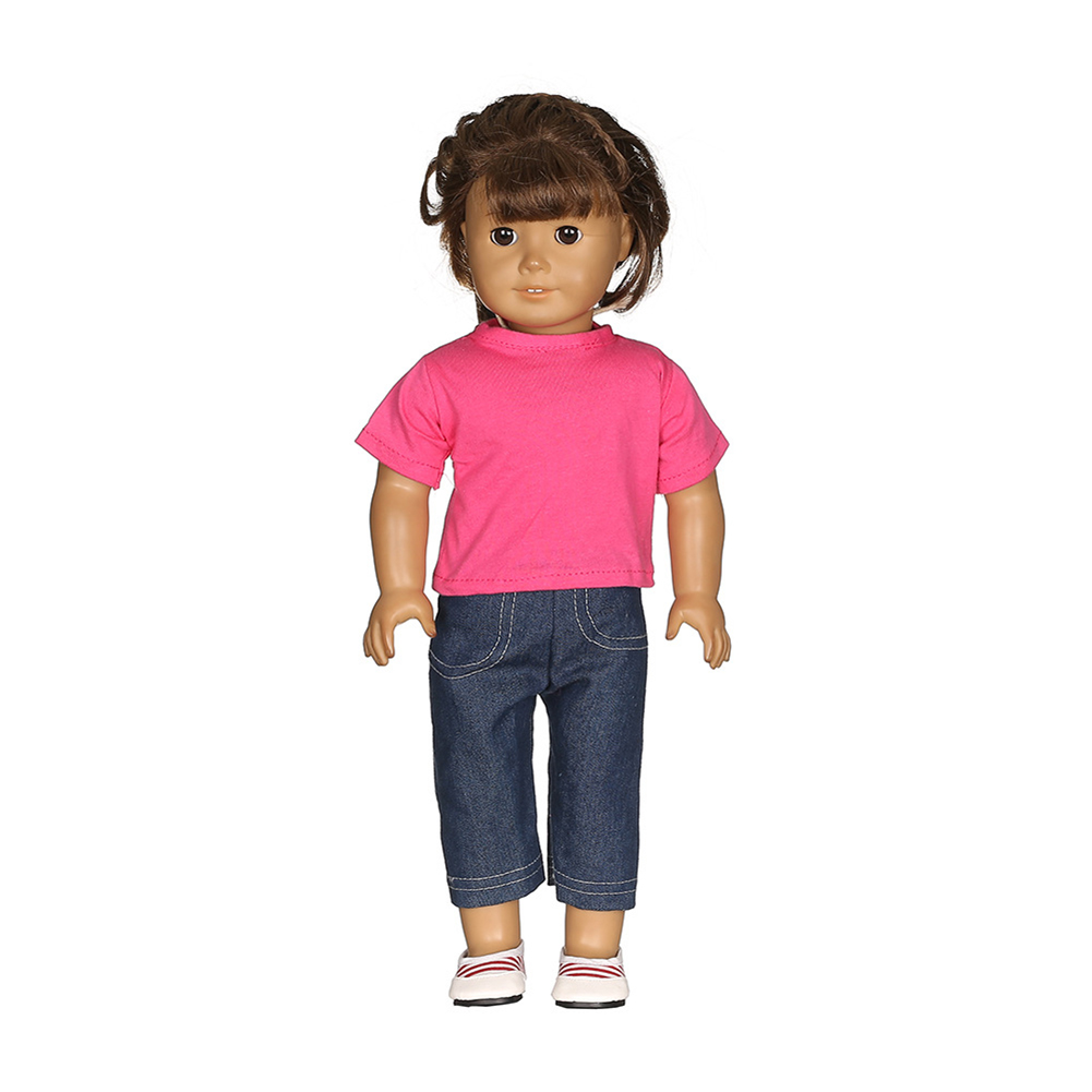 2PCS T Shirt Jeans Sports Doll Clothes Set for 18 inch America Doll