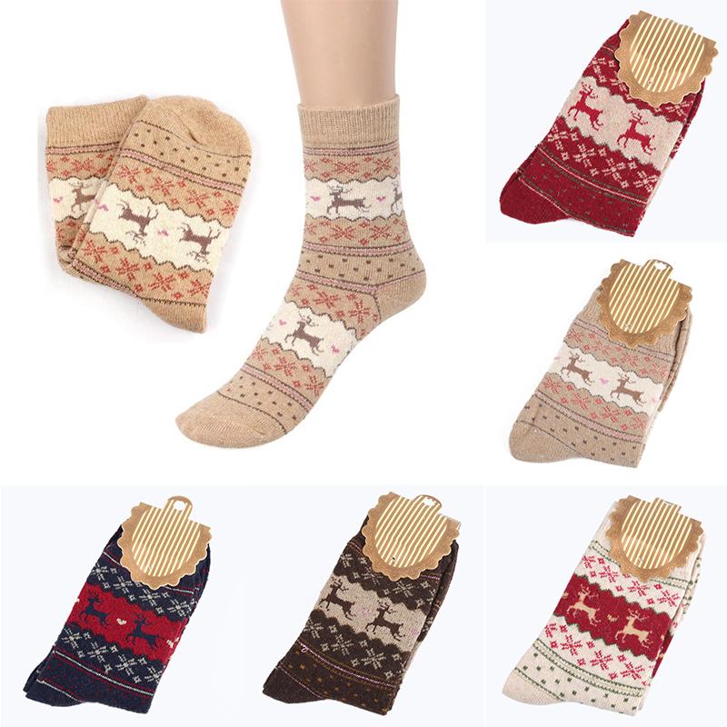 6e5ccbfb774bc Women Men Cute Christmas Deer Design Casual Knit Wool Socks Warm Winter  Ankle Socks Gift ...