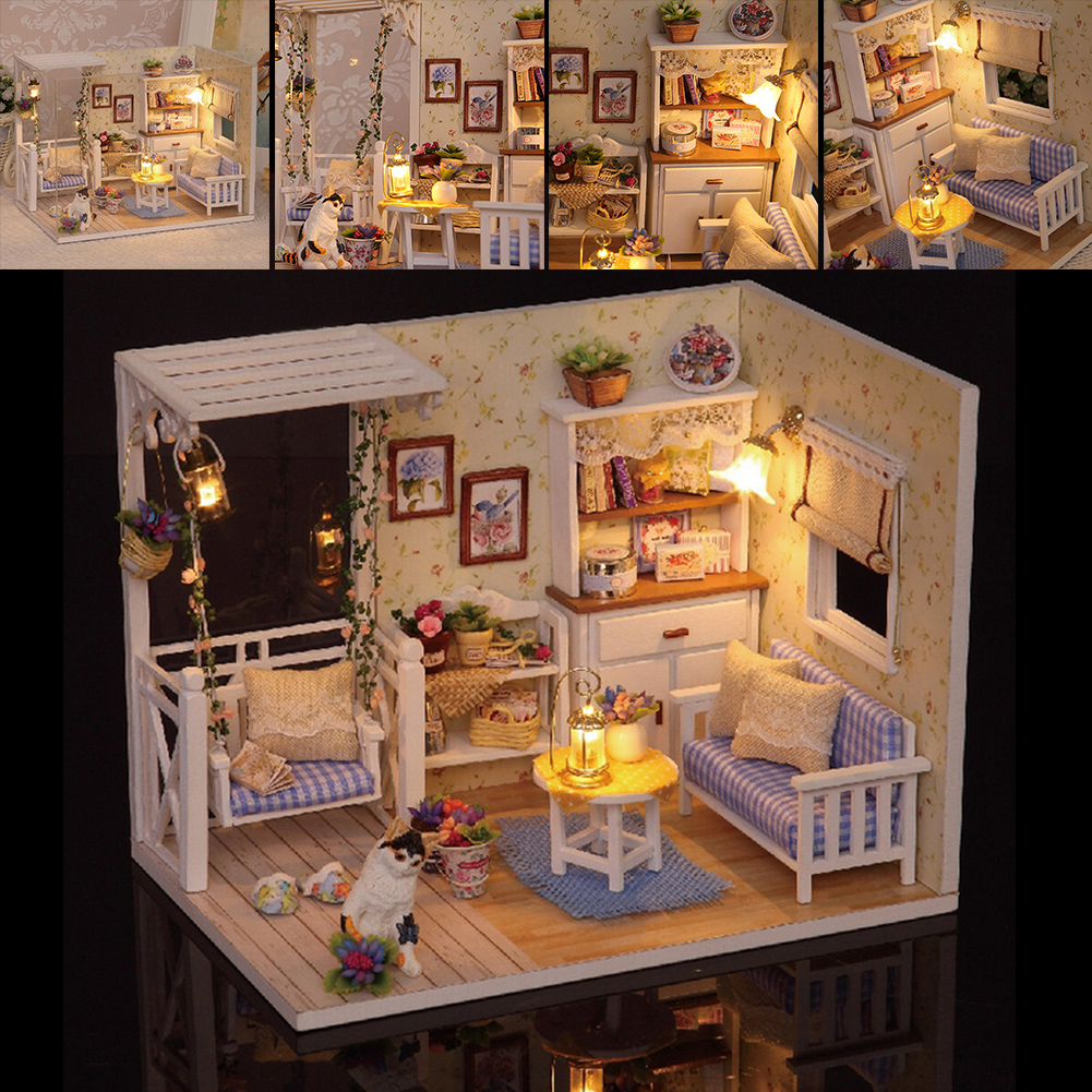 DIY Wooden Dollhouse Furniture Kits LED Light Miniature Christmas Dollhouse Puzzle Toy