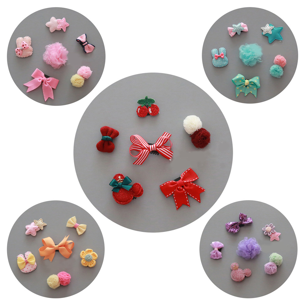 6Pcs Lovely Hairpin Baby Girl Hair Clip Bow Flower Mini Barrettes Set Kids Infant