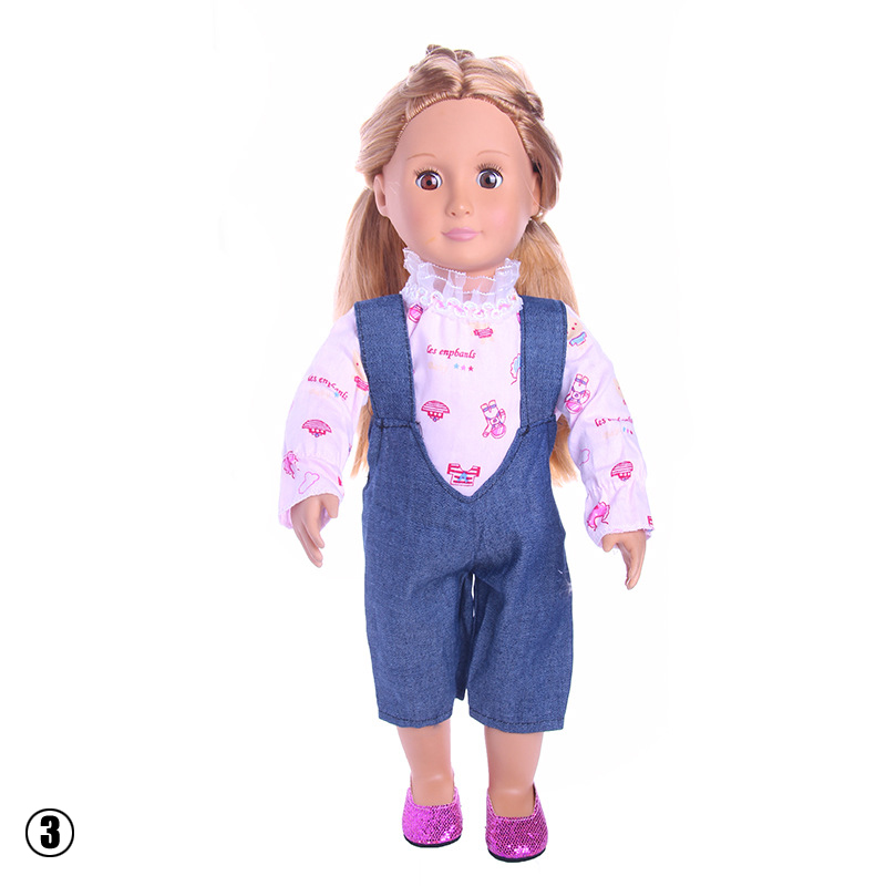 Casual Doll Clothes Set Rompers T Shirt Dress Up for 18 inch Girl Doll Gift