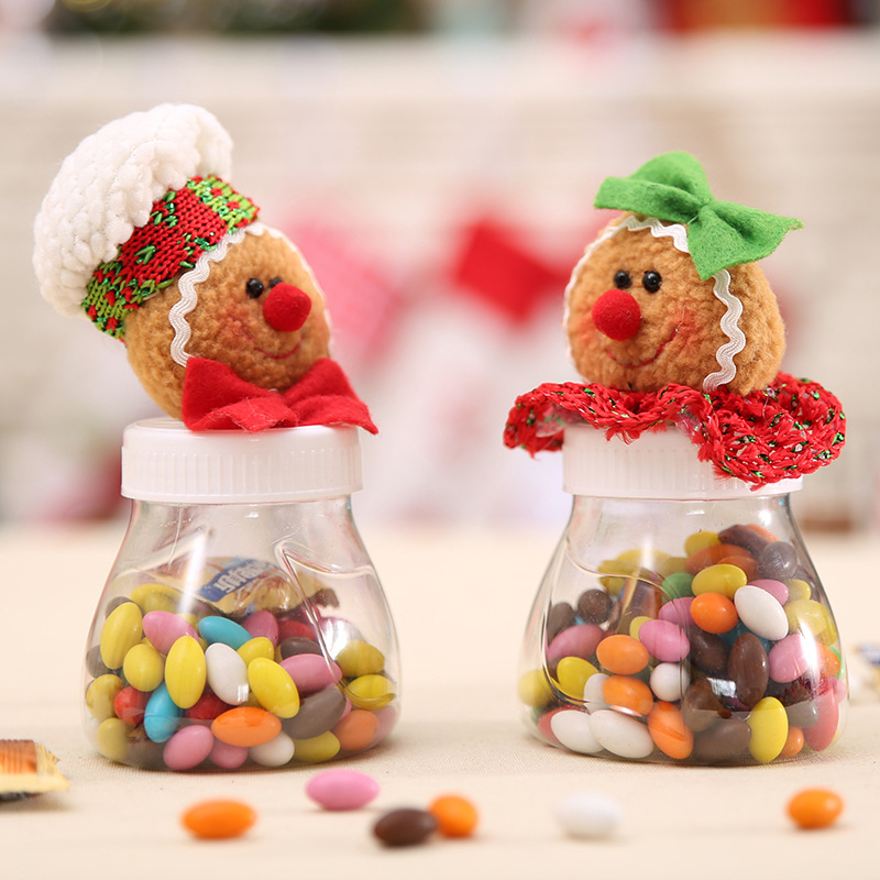 Cute Christmas Candy Storage Box Jar Bottle Gingerbread Man Xmas Home Decoration