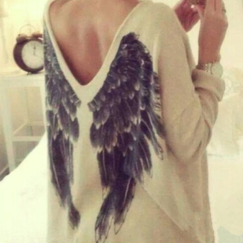 Casual Women Long Sleeve Feather Angel Wing Printed Sweater V Neck Shirts Blouse