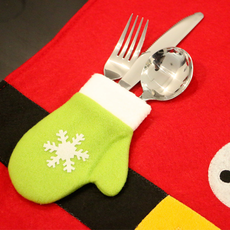 Newest Christmas Santa Claus Table Placemats Coaster Cover Runner Mat Cutlery Holder