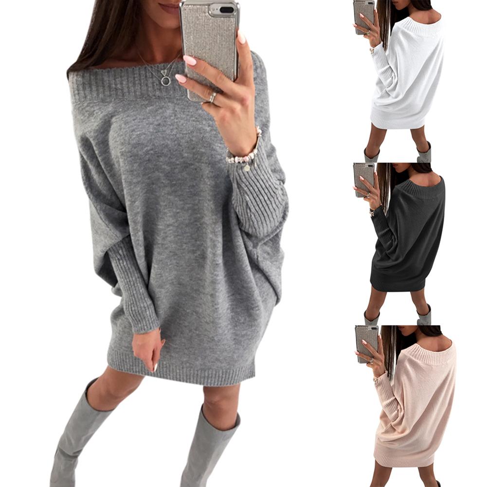 Women Long Sleeve Jumper Tops Knitted Sweater Loose Mini Dresses