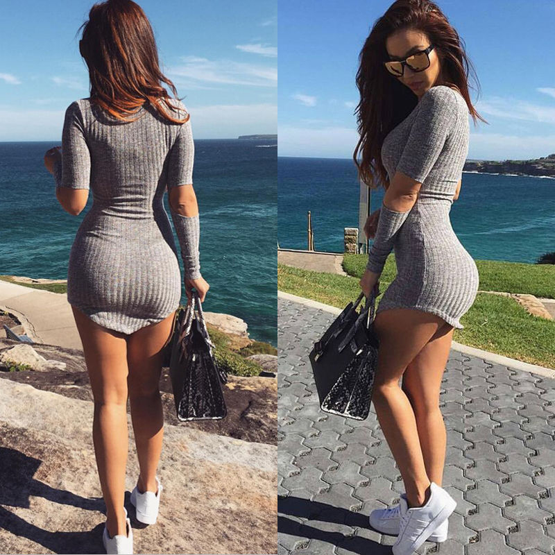 New Design Women Bandage Bodycon Hollow Sleeve Evening Sexy Party Dress