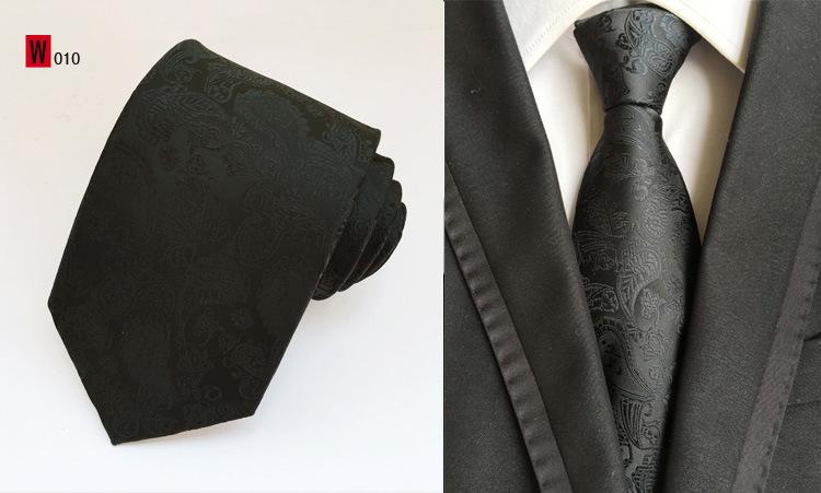 Men Skinny Slim Paisley Tie Plain Silk Jacquard Woven Necktie Party Wedding