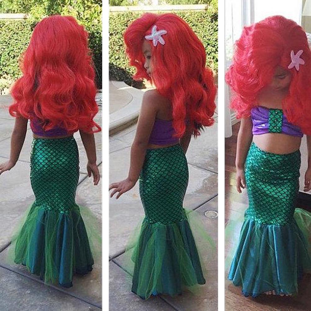 New Girls Little Baby Mermaid Costume Bikini Swimwear Swimsuit Outfits Dress Set