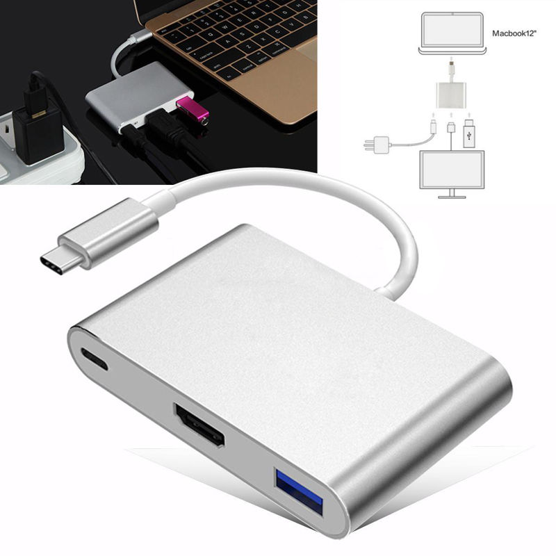 Type C USB 3.1 To USB-C 4K HDMI USB3.0 Adapter 3 in 1 Hub For Apple Macbook