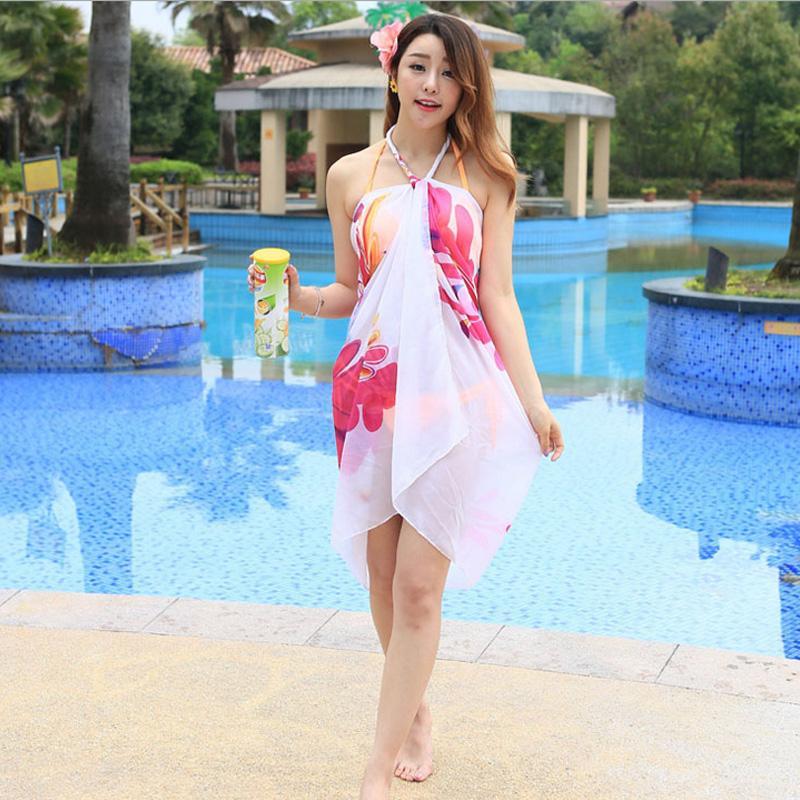 Korean Women Long Chiffon Beach Sunblock Voile Printed Scarf Shawl Wrap Large
